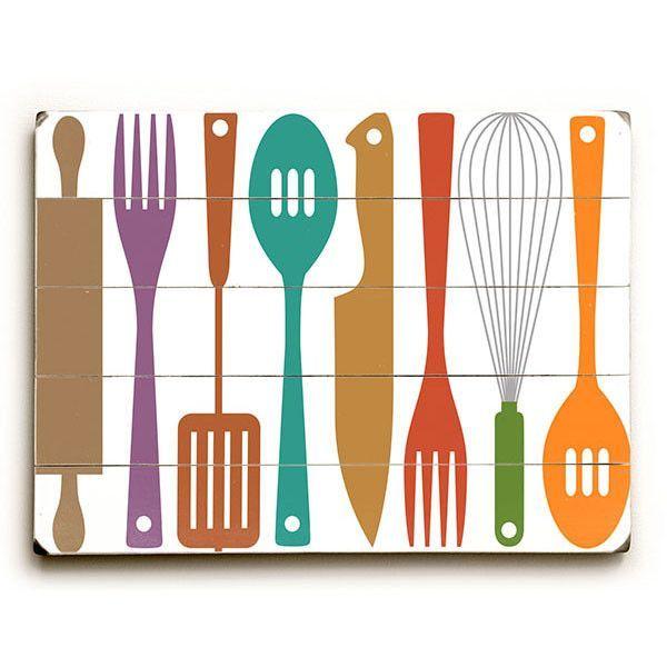 Kitchen Utensils by Artist Michael Dexter Wood Sign | eTriggerz - Wall Decor, Accents, Furniture and more! | www.etriggerz.com | Santa Ana, California