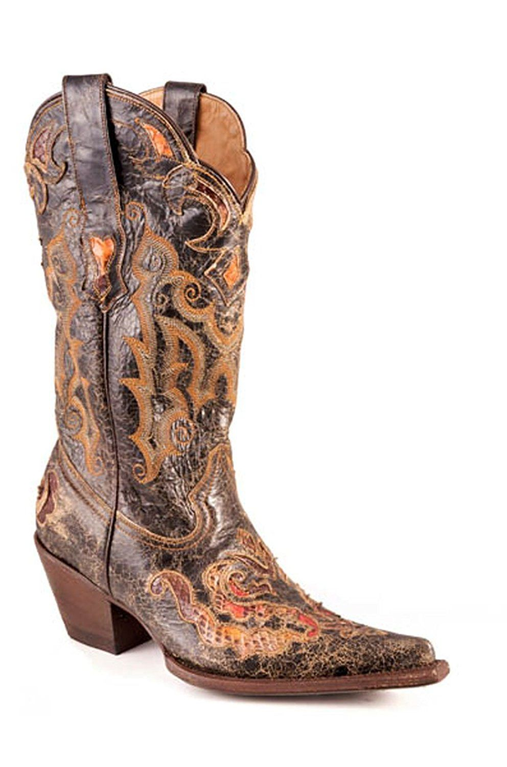 1d6875b2be Stetson Womens Exotic 13in Black Python Snake Skin Western Cowboy Boots --  Wow! I