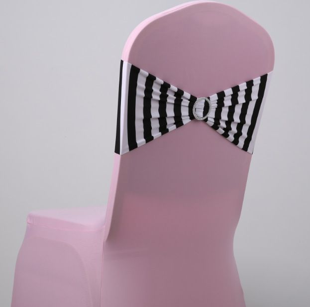 wedding chair sashes with round buckles for chair covers white and black striped zebra print lycra chair sash spandex bow tie