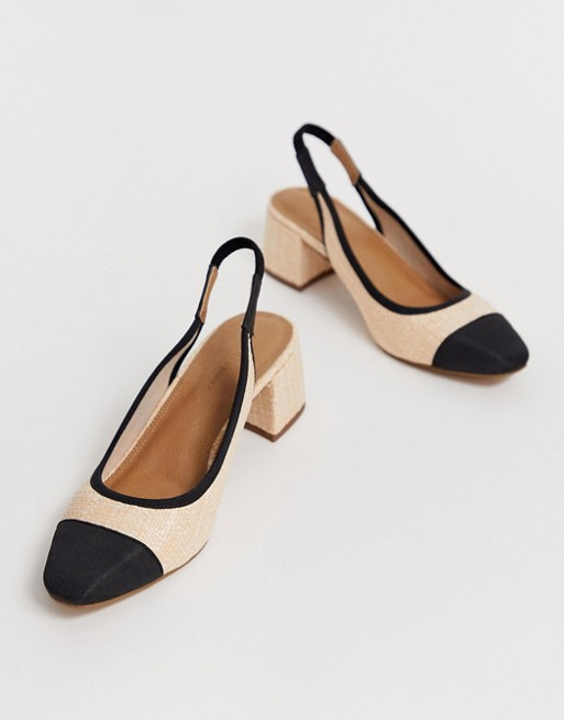 ASOS DESIGN Sochi slingback mid heels in natural fabrication | ASOS #designofblouse