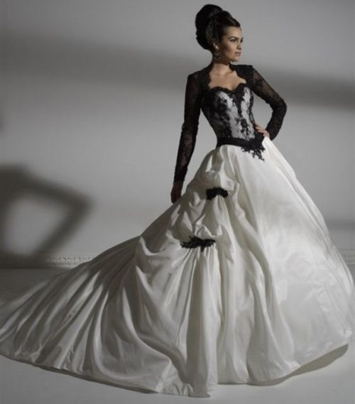 Black and white gothic wedding gown with long-sleeved lace top and ...
