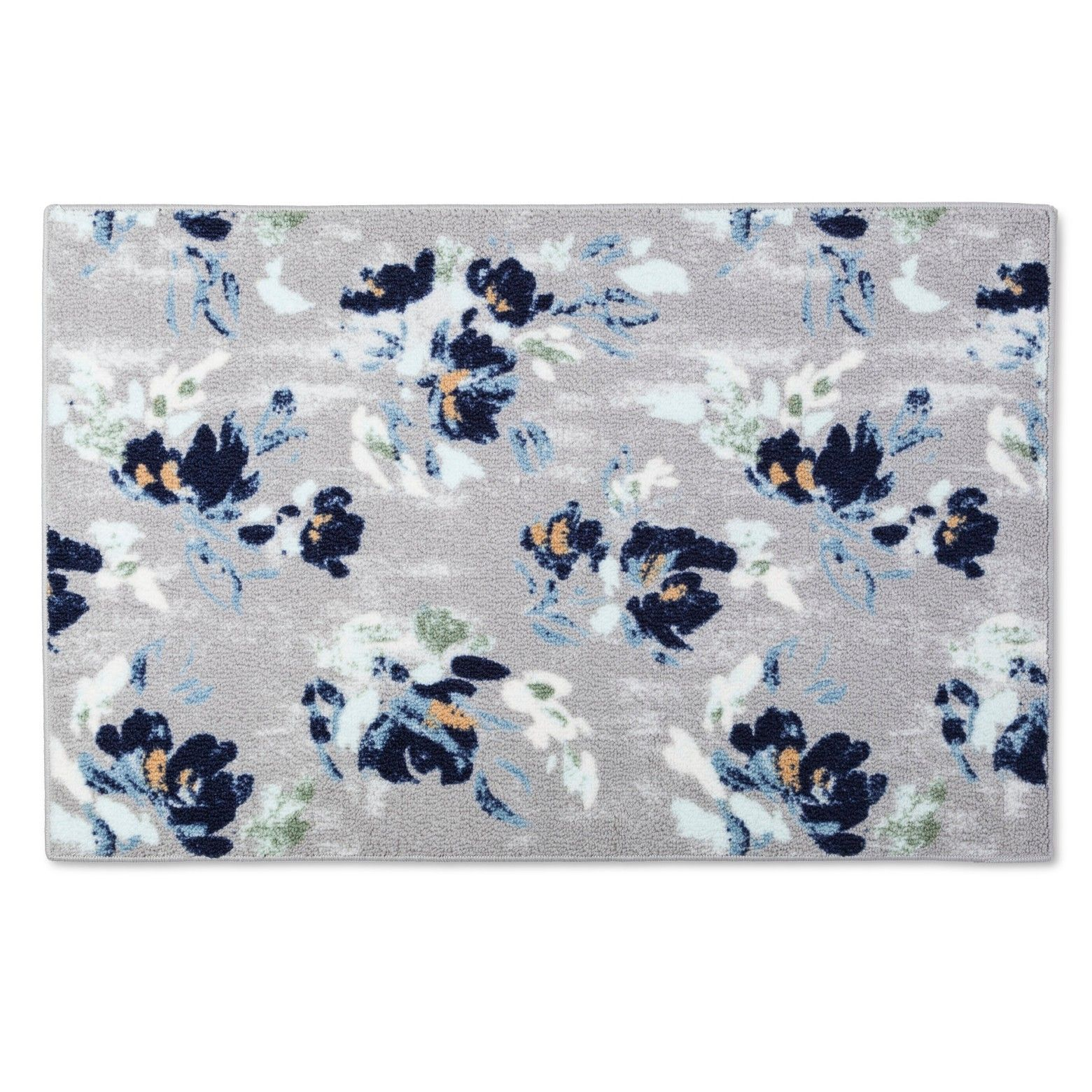 The Threshold Painterly Floral Kitchen Rug Features A Delicate