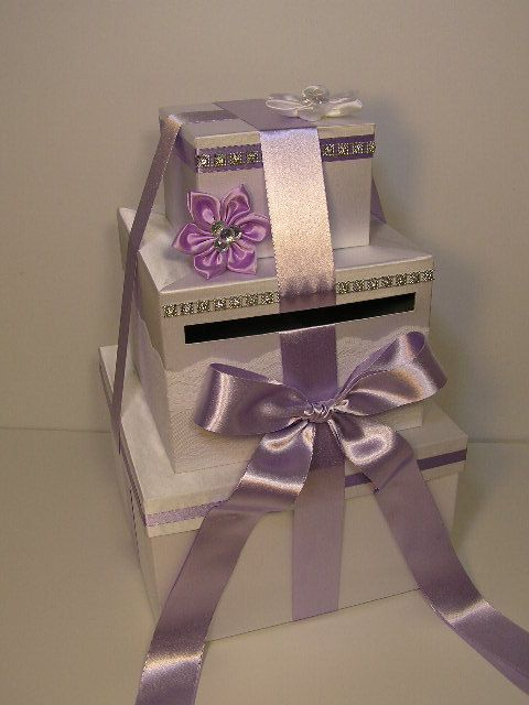 White And Lavender Wedding Card Box Gift Card Box Money Card Box Customize Your Color Via Etsy Card Box Wedding Money Card Box Wedding Cards