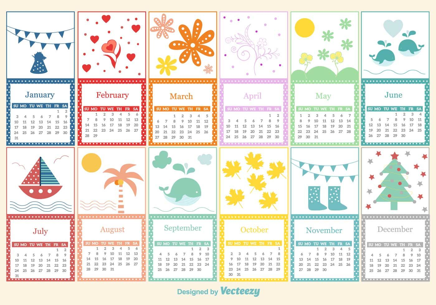 Childish Calendar Template  Bulletin Board    Vector Art