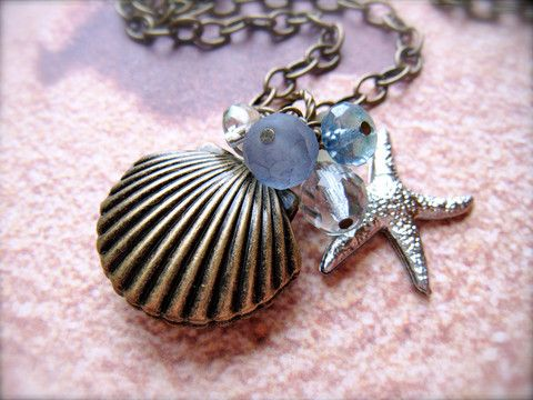 SEASHELL Locket with Beach Glass STARFISH Pendant - MegsBrokenWings
