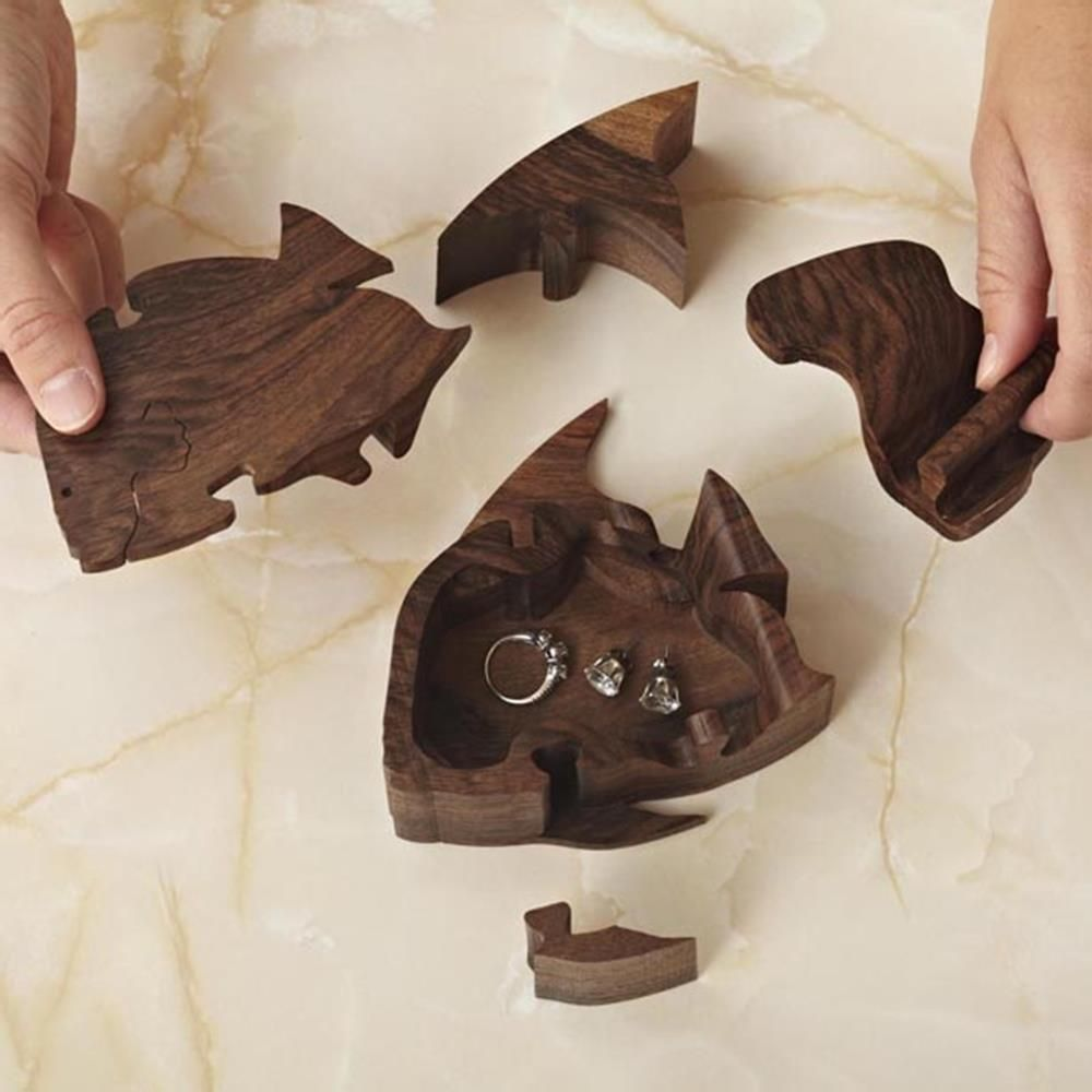 DoubleLocking Angelfish Puzzle Box Woodworking Plan from