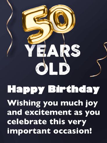 Golden Balloons Happy 50th Birthday Card Birthday Greeting Cards By Davia Happy 50th Birthday Happy Birthday Wishes Cards Free Happy Birthday Cards