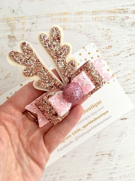 Glitter Bows Rose Gold Bow Hair Clips Hair Bows for Girls Baby Headband Baby Bow Hair Bows Pink Bow