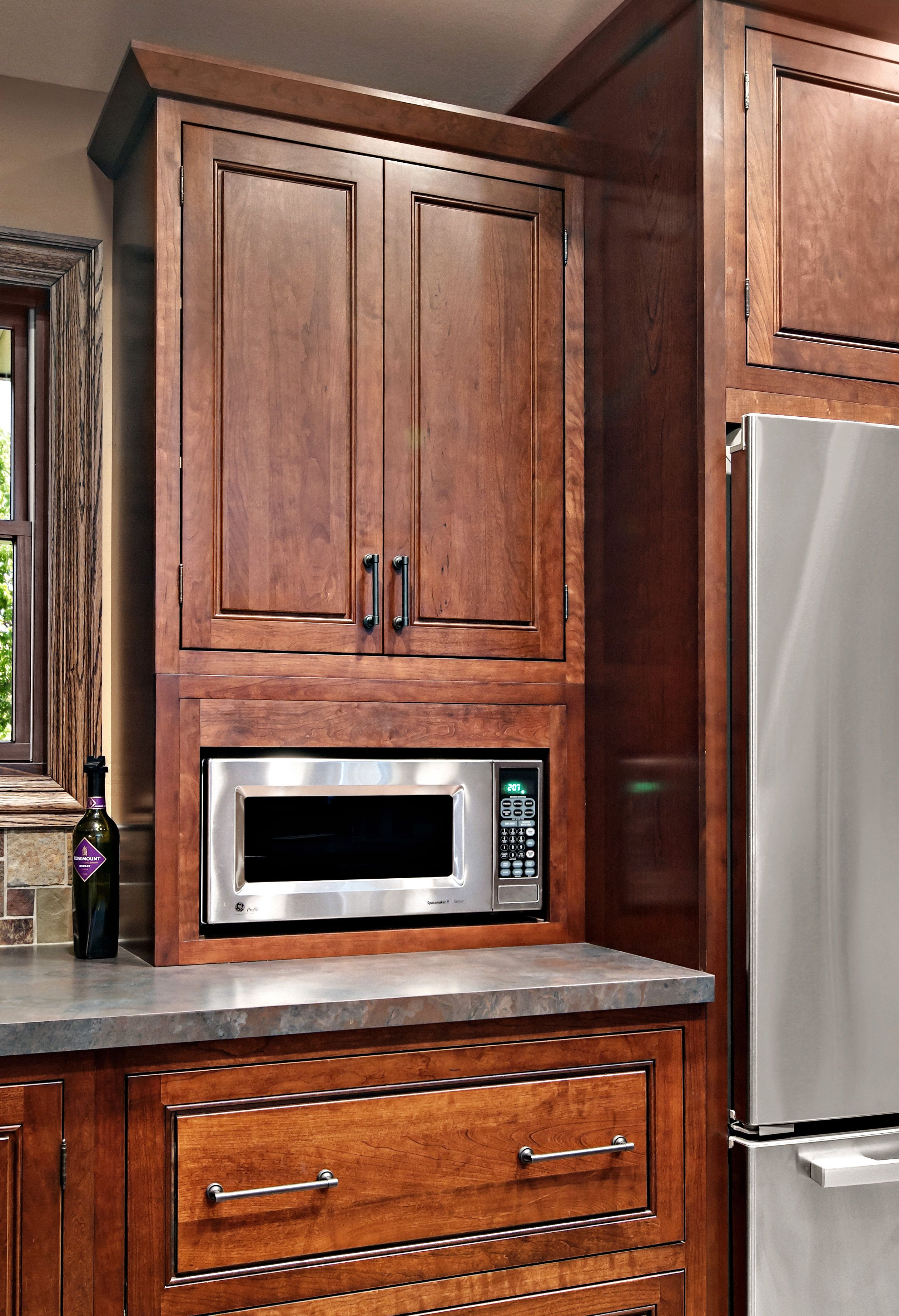 The Kitchen Cabinets Are The Fairmont Inset Style From Cliqstudios Com In The Cherry Russe Built In Microwave Cabinet Microwave Cabinet Cherry Cabinets Kitchen