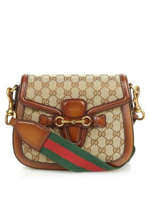 b49855bf2a3cb7 Gucci Lady Web medium canvas and leather shoulder bag | Accessorize ...
