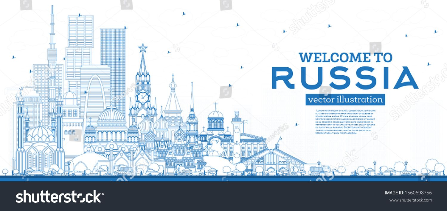 Outline Welcome to Russia Skyline with Blue Buildings. Vector Illustration. Tourism Concept with Hi