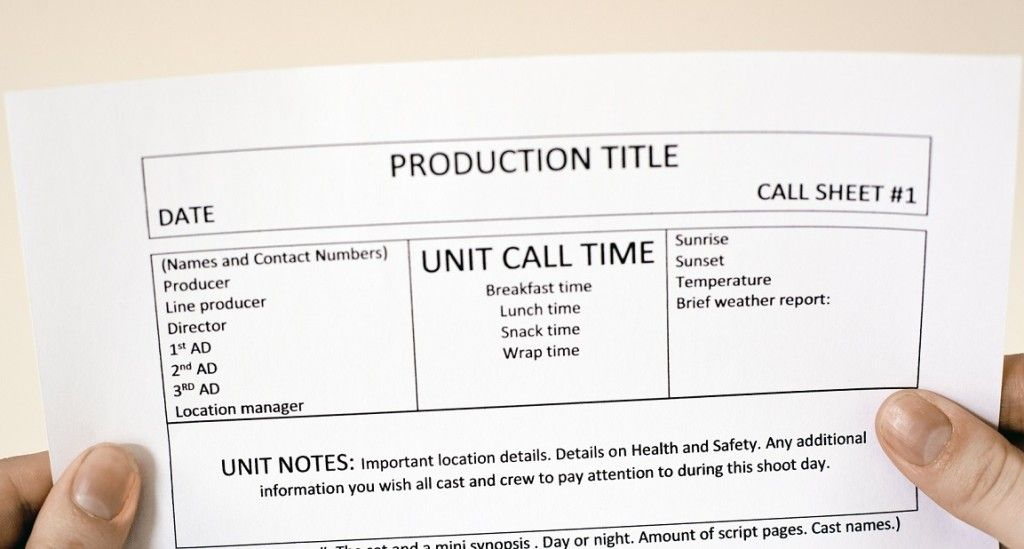 Call Sheet Printable On Set Film School Crew Members