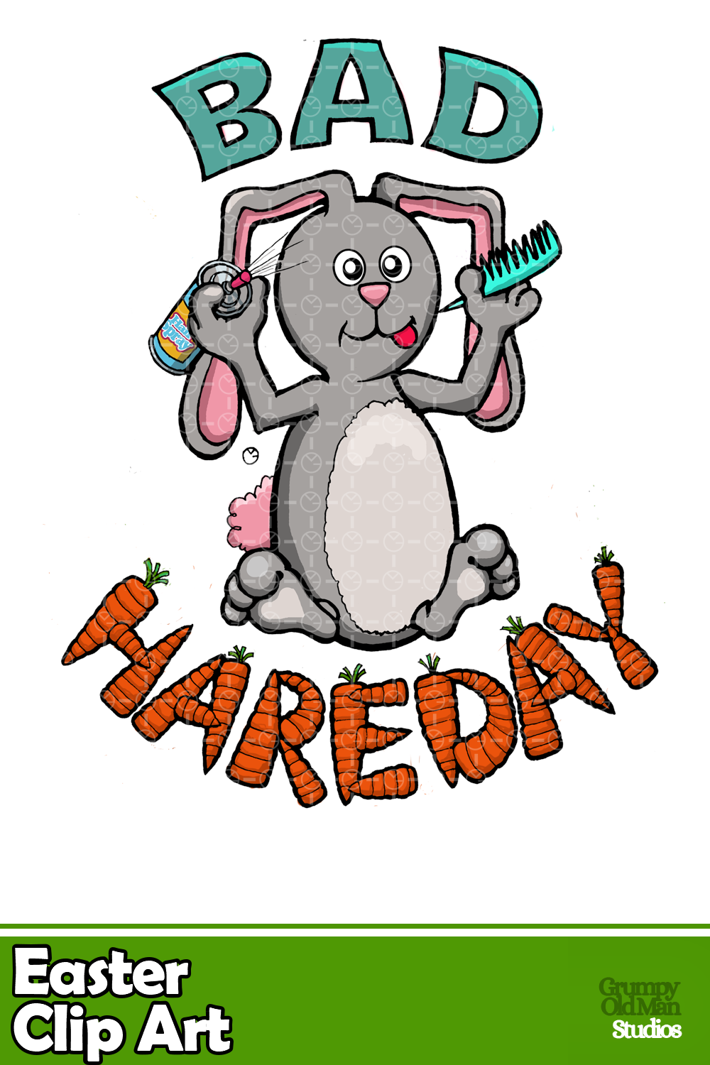 This rabbit is trying to comb his hair. in 2020 Clip art
