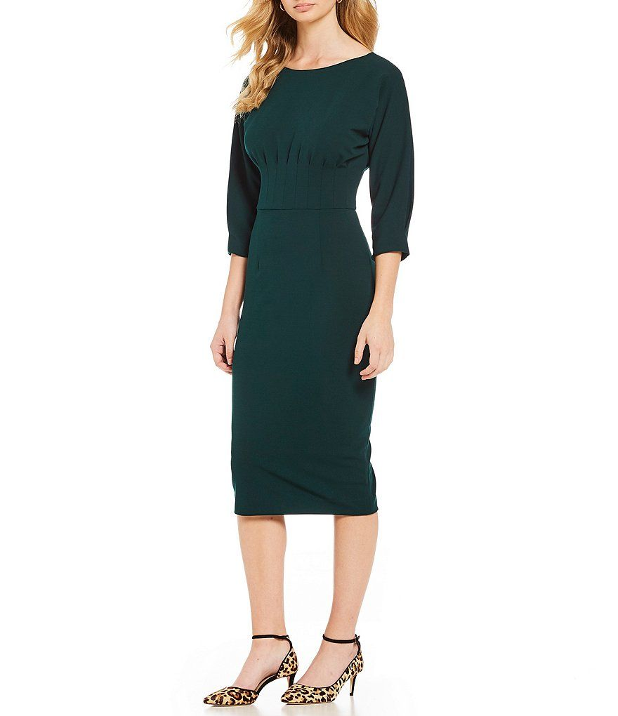7d1f09ee596 Color Deep Forest - Image 1 - Antonio Melani Crepe Pleated Myla Midi Dress
