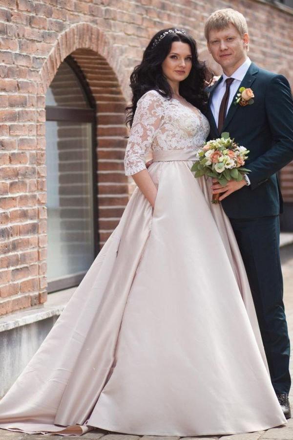 Champagne Wedding Dresses Plus Size Prom Dresses Split 2020 Cheap A Line Satin Ch In 2020 Wedding Dress Long Sleeve Ball Gown Wedding Dress Making A Wedding Dress