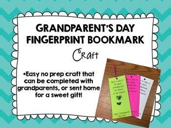 Grandparent's Day Fingerprint Bookmark Craft #grandparentsdaygifts