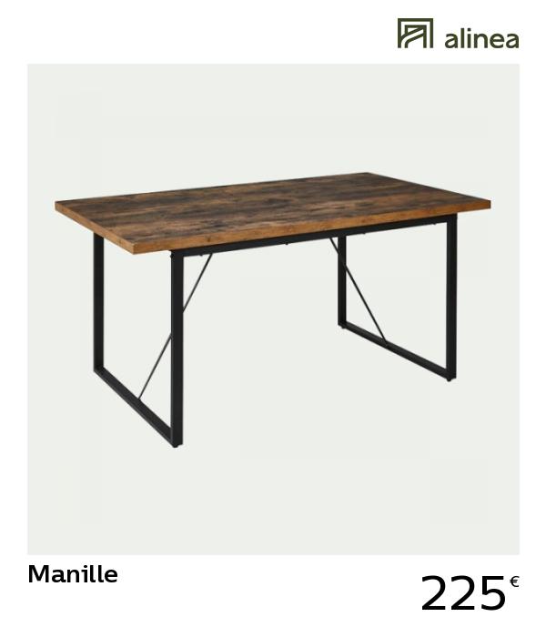 Alinea Manille Table De Repas Rectangulaire Effet Bois Et Acier L160cm 6 Convives Meubles Salle A Manger Et Cuis Table Repas Meuble Salle A Manger Table
