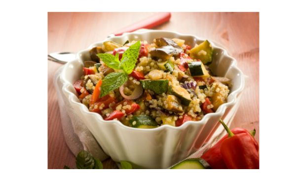 """Toasted Quinoa and Seasonal Vegetable Salad: Quinoa, an ancient """"grain"""" native to South America, is power-packed with protein! All nine essential amino acids necessary for tissue growth and repair are found in quinoa which makes it perfect for a dinner-worthy salad"""