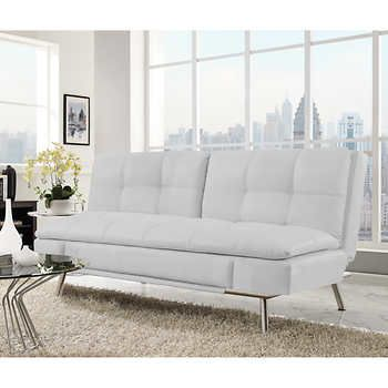 Belize Bonded Leather Euro Lounger White