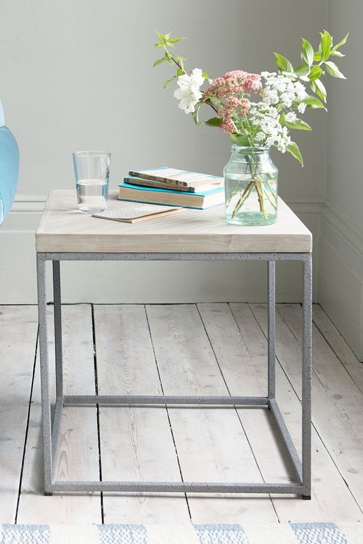 Wood And Metal Bedside Table: Wooden Bedside Table, Metal Table Legs