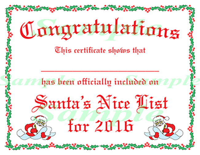 Free printable certificates from santa christmas letter free printable certificates from santa free printable certificatescertificate templatesnice listchristmas yadclub Image collections