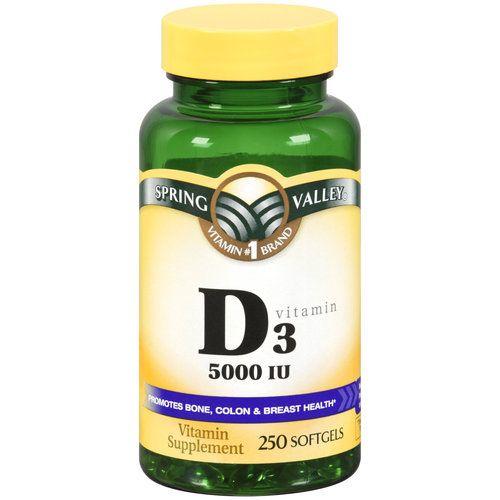 Spring Valley Vitamin D3 Softgels 5000 Iu 250 Count Walmart Com Vitamins For Energy Vitamin B12 Benefits Vitamins
