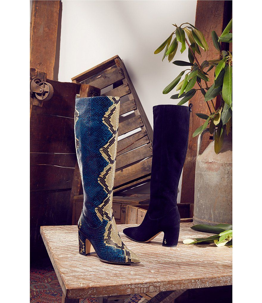 b5a8727ab4b8 Sam Edelman Hai Serpent Snake Print Leather Tall Block Heel Boots in ...