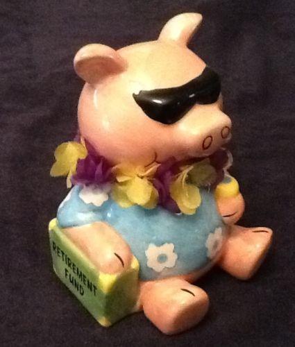 Still Piggy Bank RETIREMENT FUND Tropical Hawaiian Ceramic Sitting Pig Gift Sold $13.50