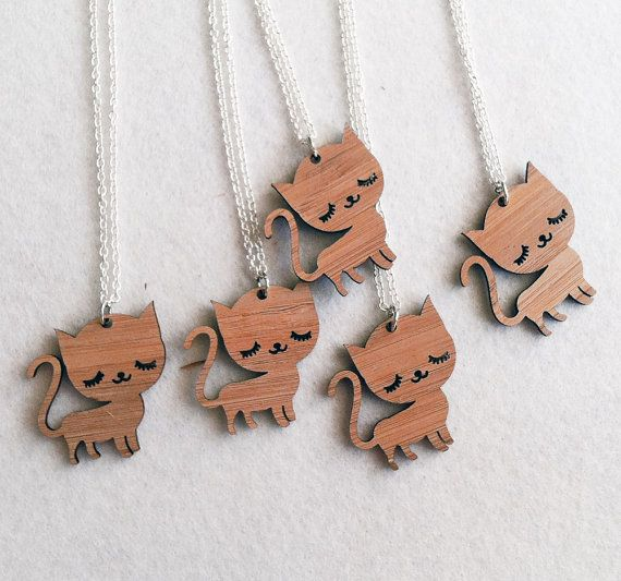 Items similar to Cat Necklace - Sleepy Kitty Wood Charm Pendant on a Silver Chain on Etsy