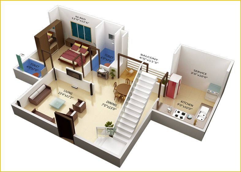 Duplex Home Plan For First Floor In 3d Version Which Consists Of A Master Bedroom A Kitchen Ro Small House Plans Free Small House Design Plans Small House Plan