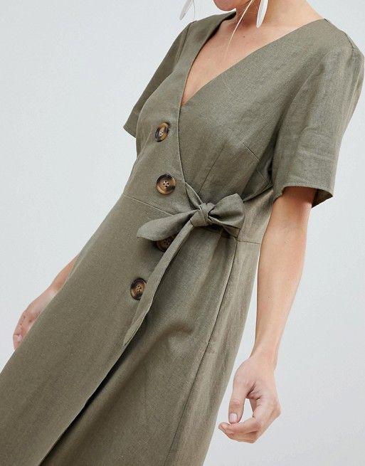 DESIGN wrap midi dress with button detail