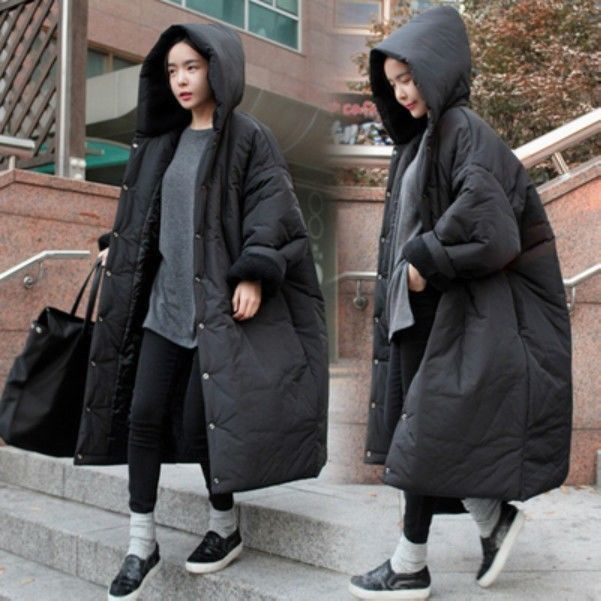 Ladies Winter Puffer Hooded Coat Casual Extra Long Thicken