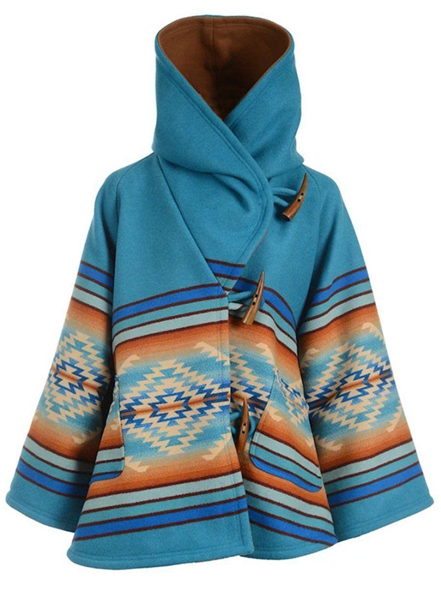 Long Sleeved Hooded Printed Woolen Coat Hooded Coat Coats For Women Blue Coats [ 1200 x 900 Pixel ]