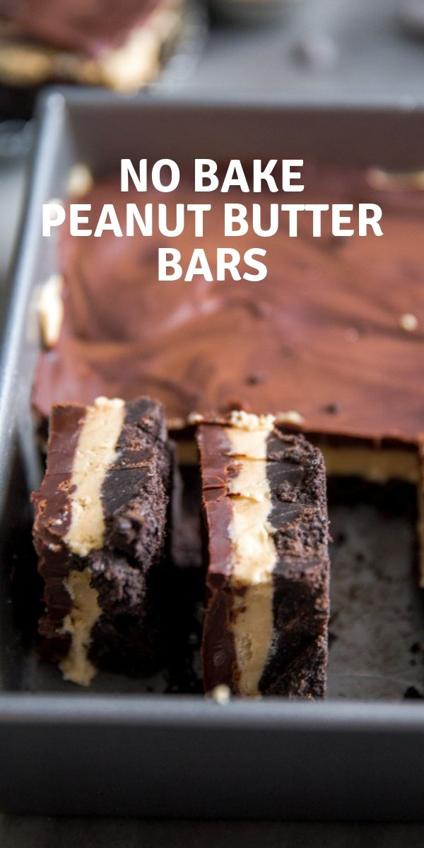 No-Bake Peanut Butter Bars #peanutbuttersquares