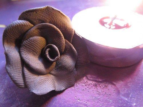 Handmade Black Rose Polymer Clay Pendant | KattyCandlesandJewelry - Jewelry on ArtFire