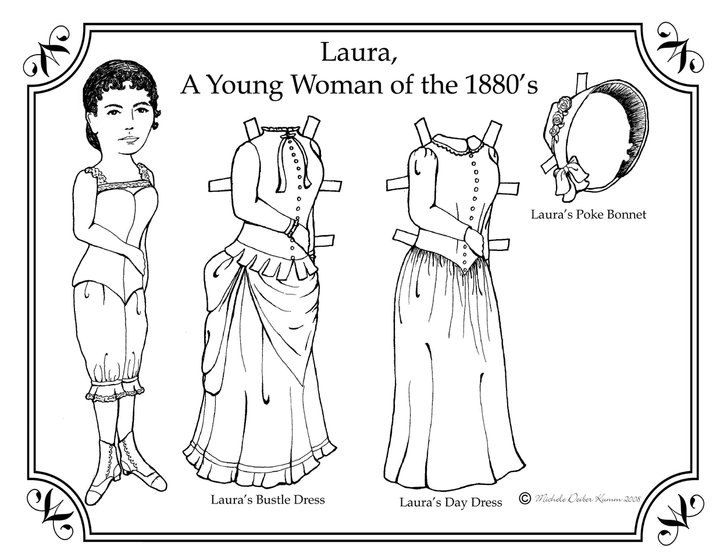 Laura Ingalls Paper Doll to Color, Adult or Child's