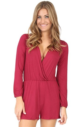 2666ffaae0e Red Crossover Long-Sleeve Romper at Blush Boutique Miami - ShopBlush ...