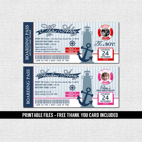 NAUTICAL BOARDING PASS INVITATIONS + FREE Thank You Card ...