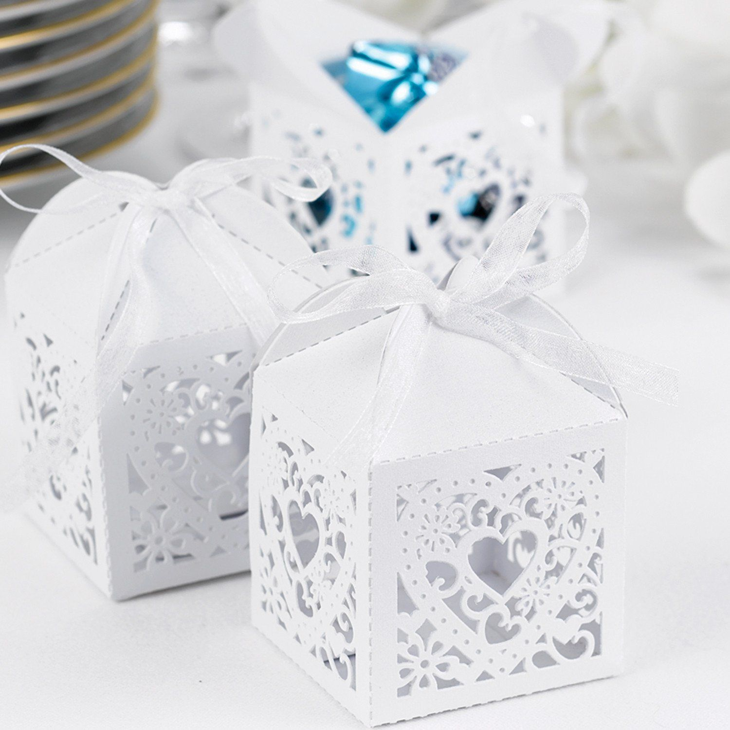 Decorative Die Cut Wedding Favor Boxes (Pack of 25) | Favours, Heart ...