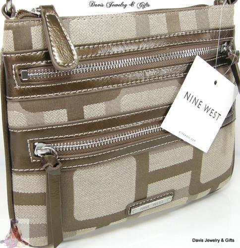 Nine West Purse Shoulder Crossbody Bag Brown Tan Beige Reno Signs Messenger Nwt