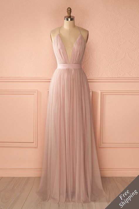 79e9f35fc6 Elif Douceur Robe longue filet blush dos ouvert - Blush mesh maxi dress  open back www.1861.ca