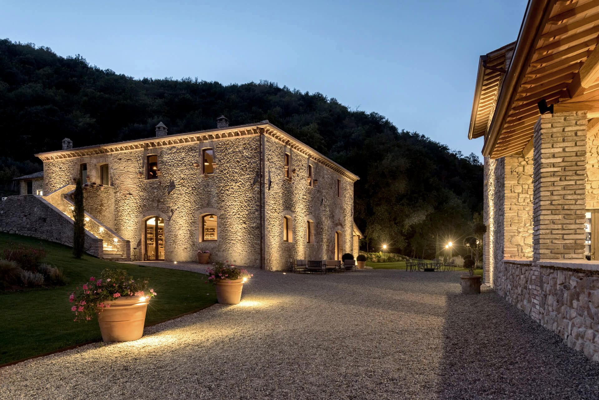 Grazing Light To Enhance The Stone Walls And Highlight