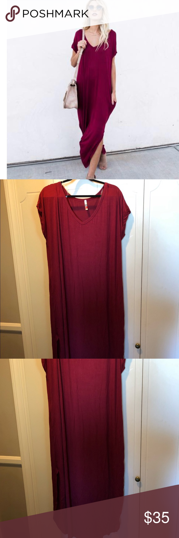 Weekender pocketed maxi dress wine from vici collection website