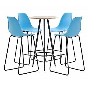5 Piece Bar Set Plastic Blue -