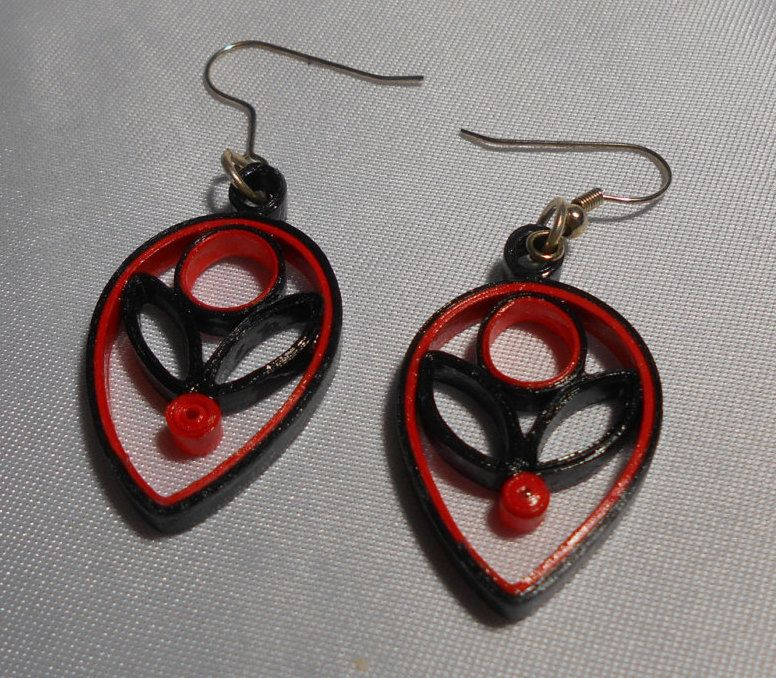 Small Orange and Black Teardrop Flowers Handmade Paper Earrings by RheasOriginals on Etsy