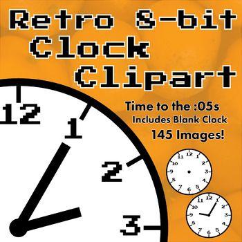 Retro 8 Bit Style Analog Clock Clipart Bundle Every 5 Minutes