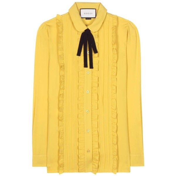 gucci yellow shirt. gucci silk blouse ($1,390) ❤ liked on polyvore featuring tops, blouses, yellow shirt