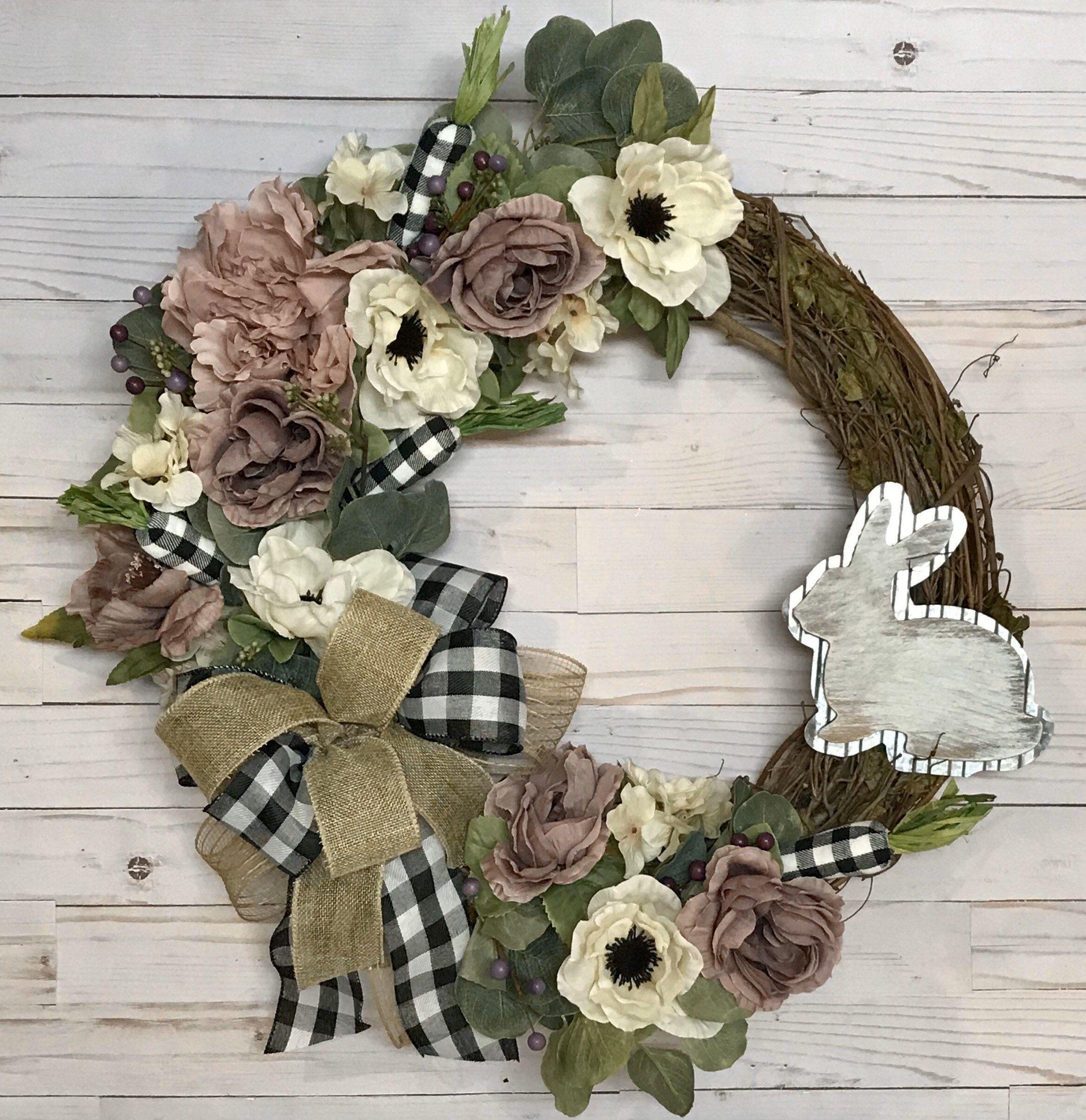 Farmhouse easter wreath for front door easter bunny wreath