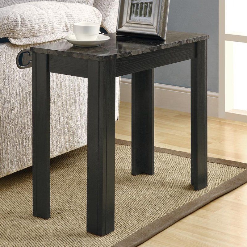 Monarch Rectangular Black Wood Accent Side Table With Grey Marble
