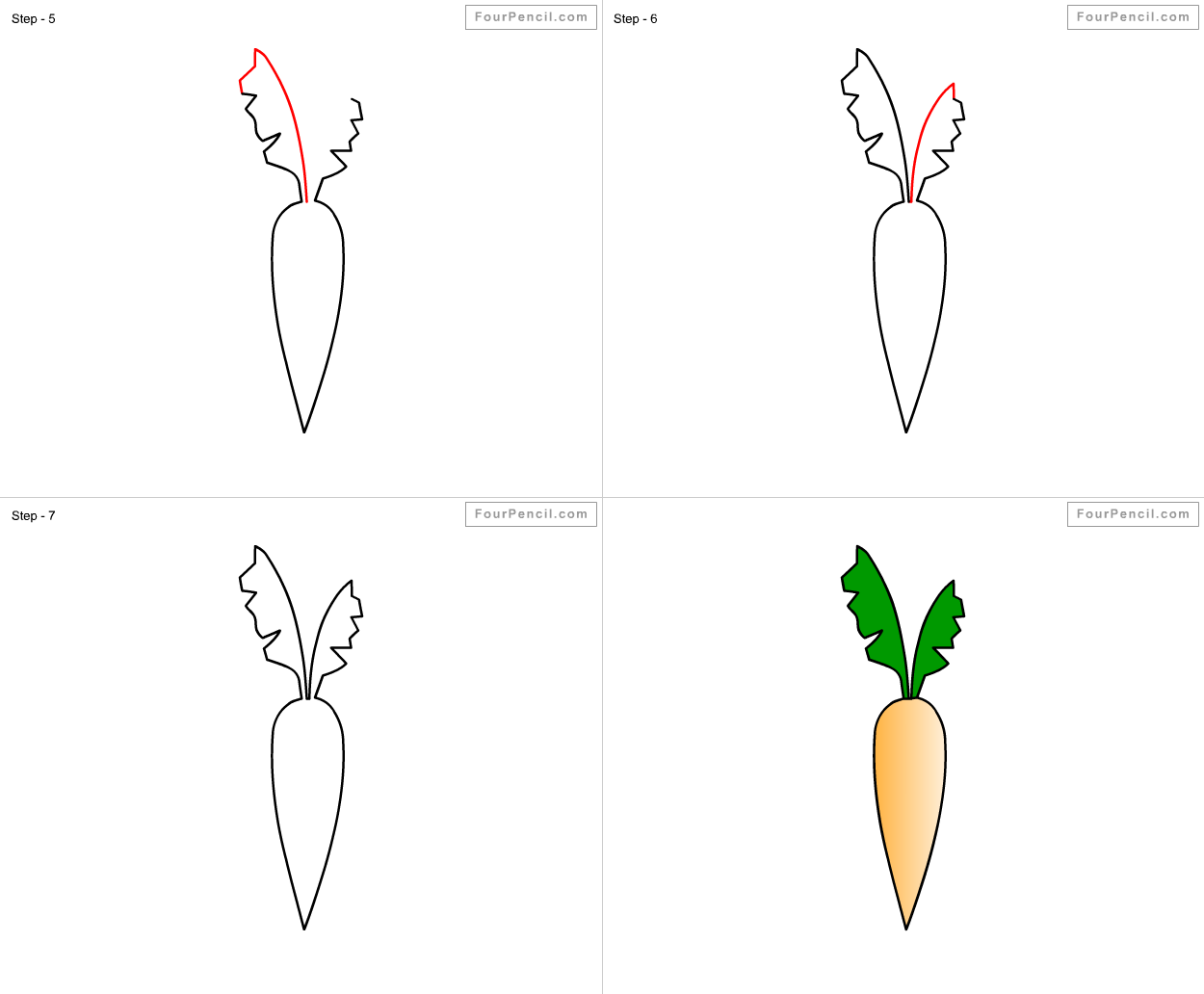 How To Draw Carrot For Kids Step By Step Drawing Tutorial Draw